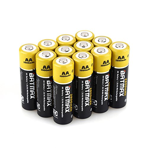 Batmax High Capacity Pack of 12 NiMH 2800mAh AA Rechargeable Batteries (Storage Cases included)