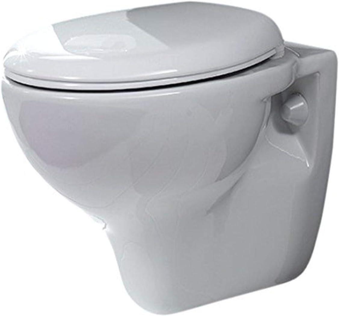 Cerastyle 018400 Lila Round Ceramic Wall Mount Toilet, White