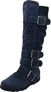 04715132aef0 Cambridge Select Women's Buckle Sweater Knit Flat Knee-High Boot