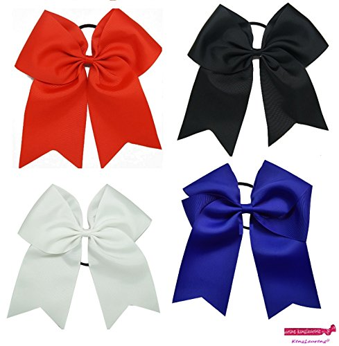 ig Hair Bows with Ponytail Holder Large Classic Accessories for Teens Women Girls Softball Cheerleader Sports Elastics Ties Handmade by Kenz Laurenz (4 Pack Cheer Bow Basic) (Detail Bow)