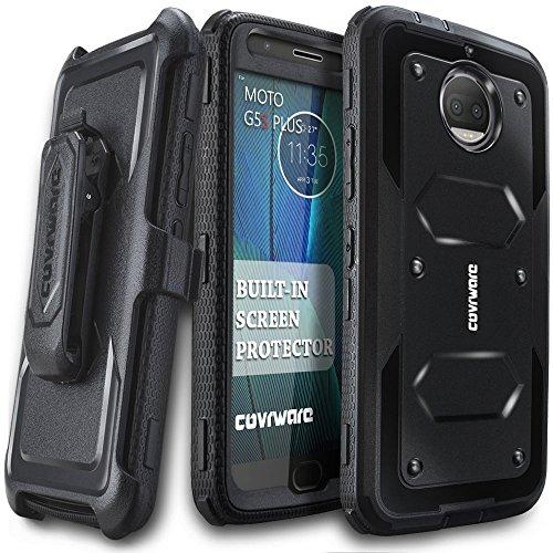 Moto G5S Plus Case, COVRWARE [Aegis Series] w/Built-in [Screen Protector] Heavy Duty Full-Body Rugged Holster Armor Case [Belt Swivel Clip][Kickstand] for Moto G5S Plus, Black