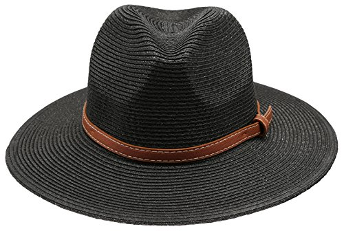 Epoch hats Women's Braid Straw Wide Brim Fedora Hat UPF 50+ w/Adjustable Drawstring