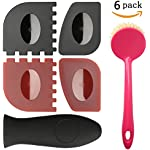 LauKingdom Cast Iron Cleaner Brush Set, Iron Skillet Handle Holder, Durable Pan Grill Scraper