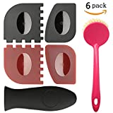 24 flat top grill - LauKingdom Cast Iron Cleaner Brush Set, Iron Skillet Handle Holder, Durable Pan Grill Scraper