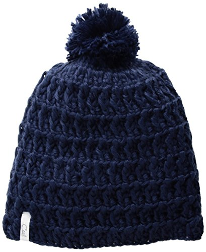 - Coal Women's Hand-Crocheted Waffle-Knit Beanie with Pom, Navy, One Size