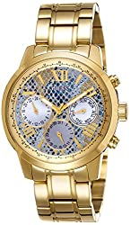 GUESS W0330L13 Women's Yellow Gold-Tone Multi-Function with Ice Blue Dial
