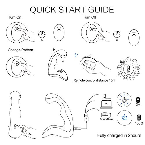 PHANXY® Upgraded Remote Control 9 Speeds Vibrating Prostate Massager Rechargeable G Spot Vibrator Waterproof Anal Sex Toy for Men Women and Couples