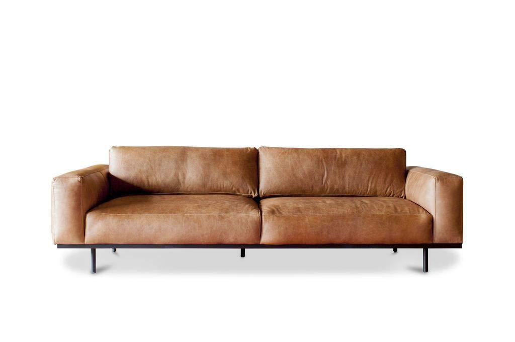 Sofá 3 plazas Almond marrón - Cuero de Plena Flor, Confort ...