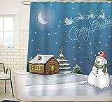 Snowman Shower Curtain Sunlit Watercolor Merry Christmas Shower Curtain with Snowman Stary Sky and Santa Sleigh Flying Reindeer Blue Festive Home Decor Fabric Curtain