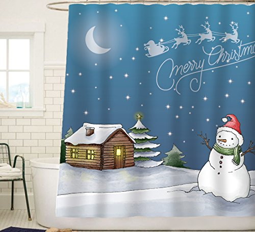 Sunlit Watercolor Merry Christmas Shower Curtain with Snowman Stary Sky and Santa Sleigh Flying Reindeer Blue Festive Home Decor Fabric Curtain