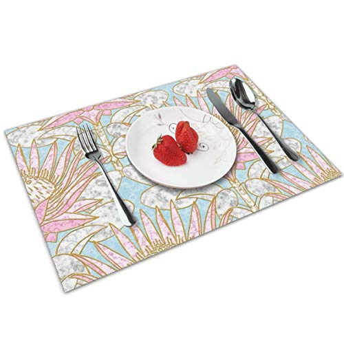 Luase Blush King Protea Art Deco (Dusty Blue) Table Placemats for Dining Table,Washable Placemat Heat-Resistant Set of 6(12X18 inch)