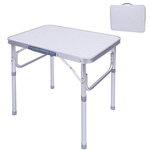 Ejoyous - Mesa Plegable, Mesa de Aluminio de Altura Regulable ...