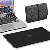 GMYLE 3 in 1 Bundle Felt Storage Pouch Bag & Black Set Soft-Touch Matte Plastic Hard Case with Keyboard Cover for MacBook Air 13 inch (Model: A1369/A1466)