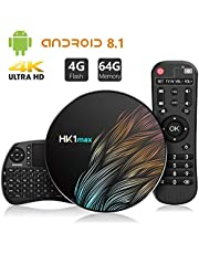 Android 8.1 TV Box【4G+64G】con Mini Teclado inalámbirco con touchpad RK3328 Quad-Core 64bit Wi-Fi-Dual 5G/2.4G,BT 4.1, 4K*2K UHD H.265, HDMI, USB 3.0 Smart TV Box
