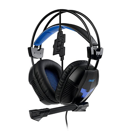 [New 2016] iXCC Howler Gaming Headset Headphones, In-Line Controls, Mic, HD Sound, Noise Canceling for PC, Mac