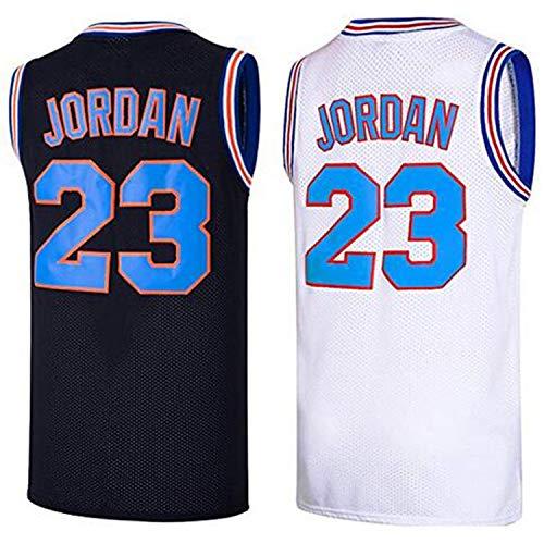 AIFFEE Men's 23 Space Jam Basketball Jersey Sports Shirts White Black Color Size S,M,L,XL,XXL,XXXL (L, Black)