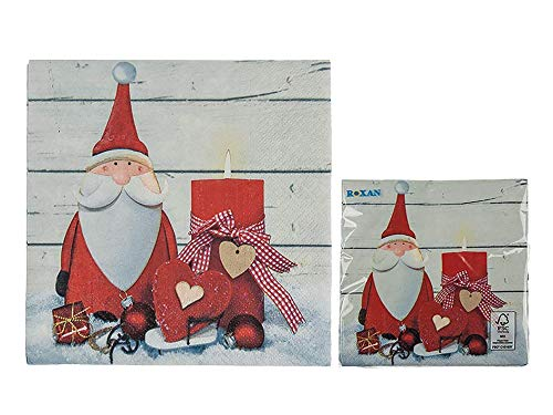 Pack of 20 Traditional Christmas Paper Napkins - Santa and Candle Design - Christmas Tableware Essentials