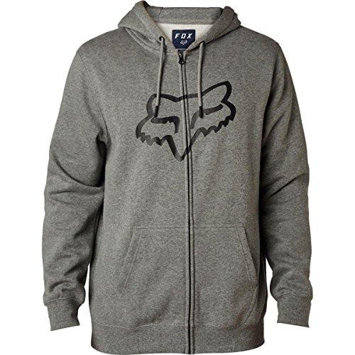 Sweatshirt Edwards Drawstring - Fox Racing Mens Legacy Foxhead Fleece Hoody Zip Sweatshirts, Heather Graphite, Large