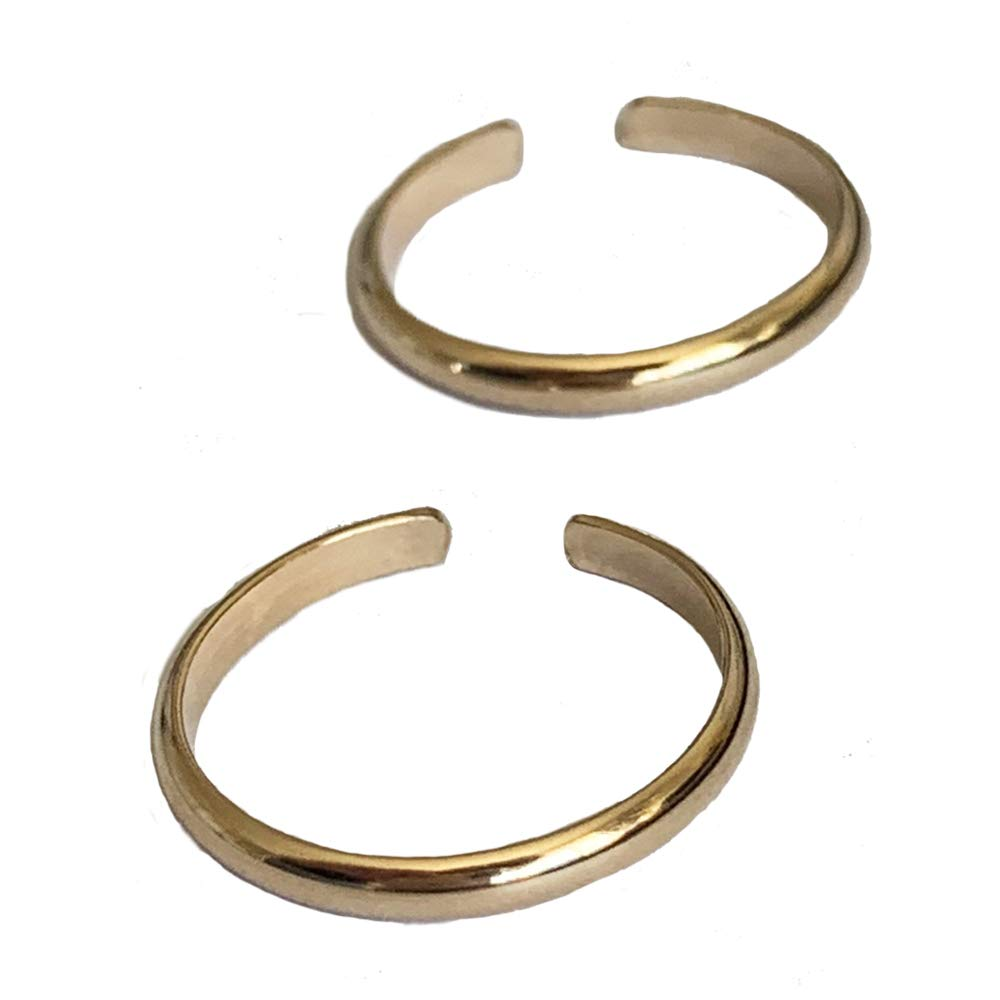 Toe Rings   2 Rings   2mm Bands in 14K Gold Fill Gift Pack   Adjustable Ring for Toe or Midi   One Size Fits Most Men or Women by Toe Rings and Things