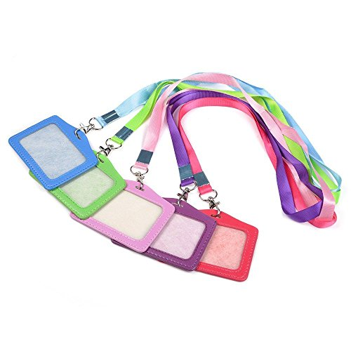 - OAIMYY-Colorful Horizontal Style Assorted Color Faux Leather Business Id Credit Card Badge Holder Clear Pouch Case with Long Adjustable Neck Strap Band Lanyard-5 Pack