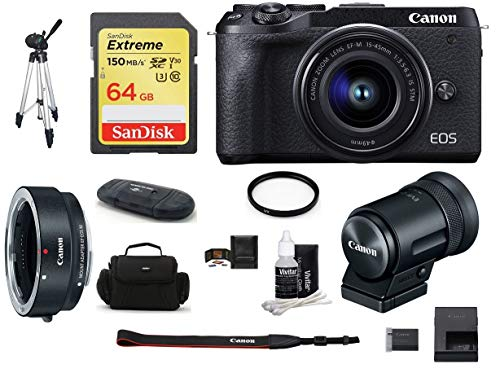 Canon EOS M6 Mark II Mirrorless Digital Camera (Black) with EF-M 15-45mm Lens and EVF-DC2 Viewfinder (Black) Bundle, Includes: Canon EF-M Lens Adapter Kit + SanDisk 64GB Extreme Memory Card (9 Items)