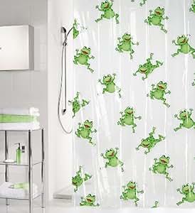 Kleine Wolke 2200148305 Froggy - Cortina de ducha (180 x 200 cm), diseño de ranas, color blanco y verde