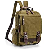 Backpack Purse for Women, F-color Dual Use Canvas Sling Bag Mini Backpack, Khaki