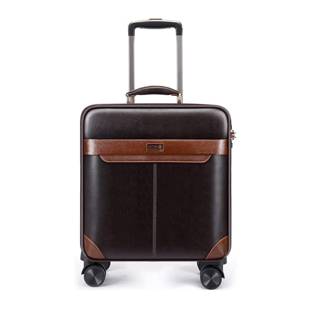 36-dianyejiancai ポータブル超軽量PUレザースーツケーストラベルトロリースーツケース4ホイールスーツケース - 16 / 1-360回転ホイール (Color : A, サイズ : 40X21X53CM) B07S3SLYM5 A 40X21X53CM