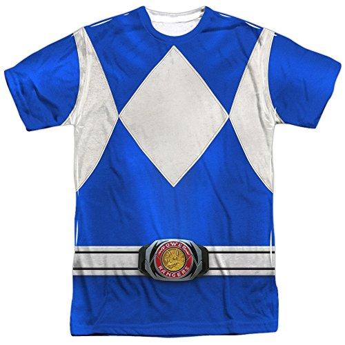 Trevco Men's Power Rangers Double Sided Print Sublimated T-Shirt, Rangers White, (Zordon Power Rangers Costume)