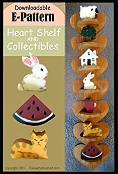 Folk Art Heart Shelf Wood Pattern with Country Collectibles Sheep Cat Watermelon Apple House Bunny & Tree
