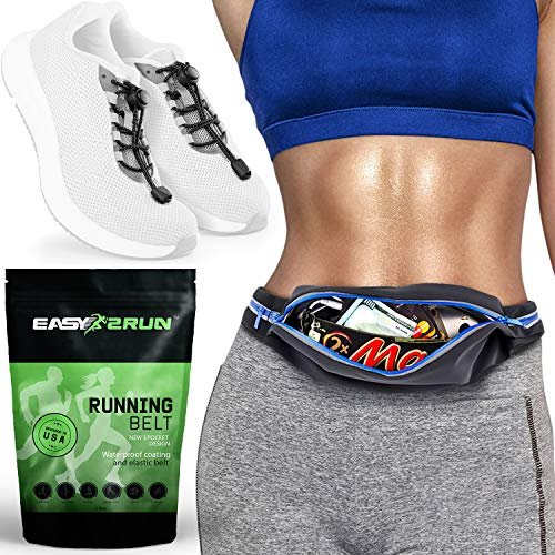 Running Belt - 3 Expandable Pocket Runners Waist Pack and Reflective No Tie Elastic Shoelaces Bundle – Waterproof Runners Pouch for Men and Women - iPhone X XS XR 6 7 8 Plus MAX Android – Jogging