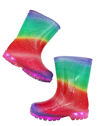 TQ Homebase Girls Rain Boots in Rainbow Pattern with Light up and Fully Waterproof at Sizes for Toddlers and Kids 10 M by TQ Homebase