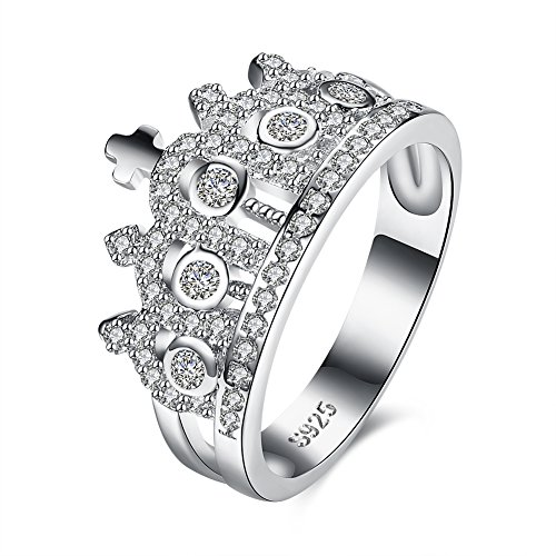 Women's 925 Sterling Silver Crown Cross Square Religious Ring Cubic Zircon Wedding Band Eternity Engagement Promise Ring Size 8 - Square Dancer Costume
