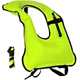 Inflatable Snorkel Vest Adult Canvas Snorkeling Life Jacket Free Diving Swimming Safety Load Up To 220 Ibs (Green)
