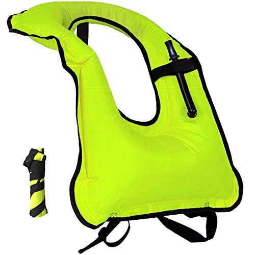Lesberg Inflatable Snorkel Vest Adult life jackets Free Diving Swimming Safety Load Up To 220 Ibs Green Life Jacket Lock