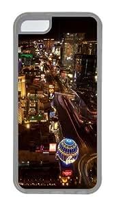 Night Las Vegas Custom Design iPhone 5c Case and Cover - TPU - Transparent