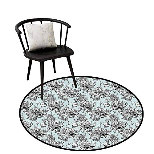 Flexible Round Rug Shabby Chic Will not Touch The Floor Directly Vintage Monochrome Pond Water Flowers Lily Carp Snail Twigs Artwork Baby Blue Black White D16(40cm)
