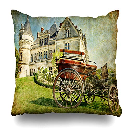 (Ahawoso Throw Pillow Cover Scenery Tale Old French Castle Carriage Artistic Vintage Europe Fairy Clip Aged Carrige Ancient Decorative Cushion Case Square 18
