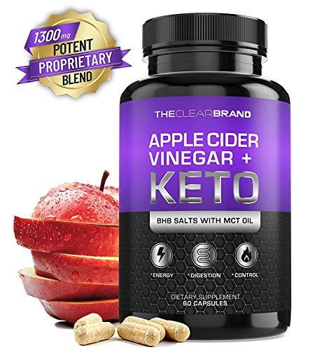 Keto Diet Pills + Apple Cider Vinegar (BHB Salts & MCT Oil) – Exogenous Ketones Capsules – Supports Weight Management – Boost Energy – Increase Focus – Fat for Energy for Men Women – Keto Supplement