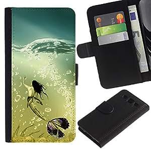 KLONGSHOP / Tirón de la caja Cartera de cuero con ranuras para tarjetas - Mermaid Whale Ocean Turquoise Art Bubbles - Samsung Galaxy S3 III I9300