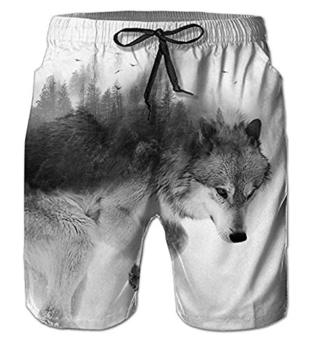 for Men Plus Size Hipster Novelty 3D Print Graphic Active Colorful Wolf Board Shorts XXL ()