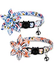 Pet Cat Safety Collar, Breakaway Cat Collar with Bells, Adjustable Cat Collars with Sunflower, Cute and Soft Cat Collars, Cat Collar Accessories