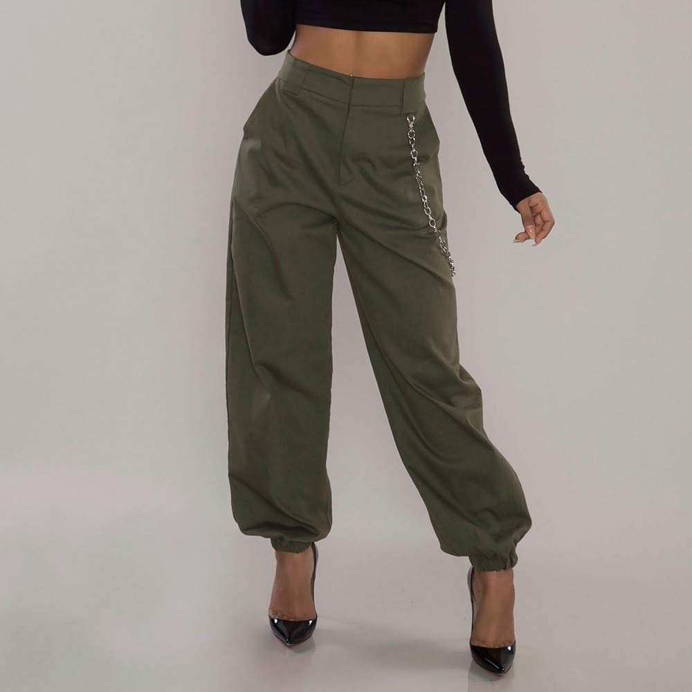 1ad3593b12b4 Amazon.com  iYBUIA Summer Women High Waist Harem Pants Elastic Waist Stripe  Casual Pants  Clothing