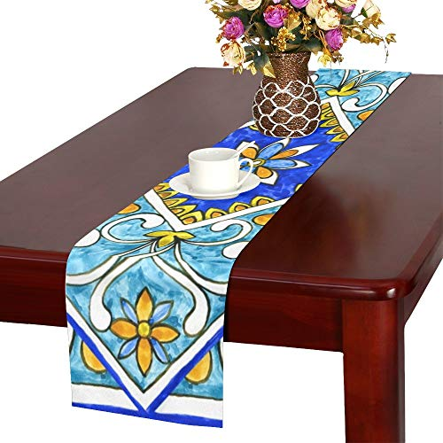 - WHIOFE Italian Majolica Tiles Floral Ornament Table Runner, Kitchen Dining Table Runner 16 X 72 Inch for Dinner Parties, Events, Decor