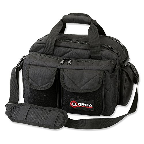 Orca Tactical Gun Shooting Range Bag Handgun Pistol and Ammo Duffle Carrier (Black) (Best Pistol Range Bag)