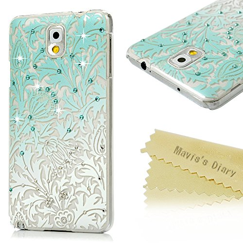 Note 3 Case,Samsung Galaxy Note 3 Case – Mavis's Diary 3D Handmade Bling Crystal Shiny Rhinestone Diaonds Special Hollow Floral Gradient Pattern Clear…