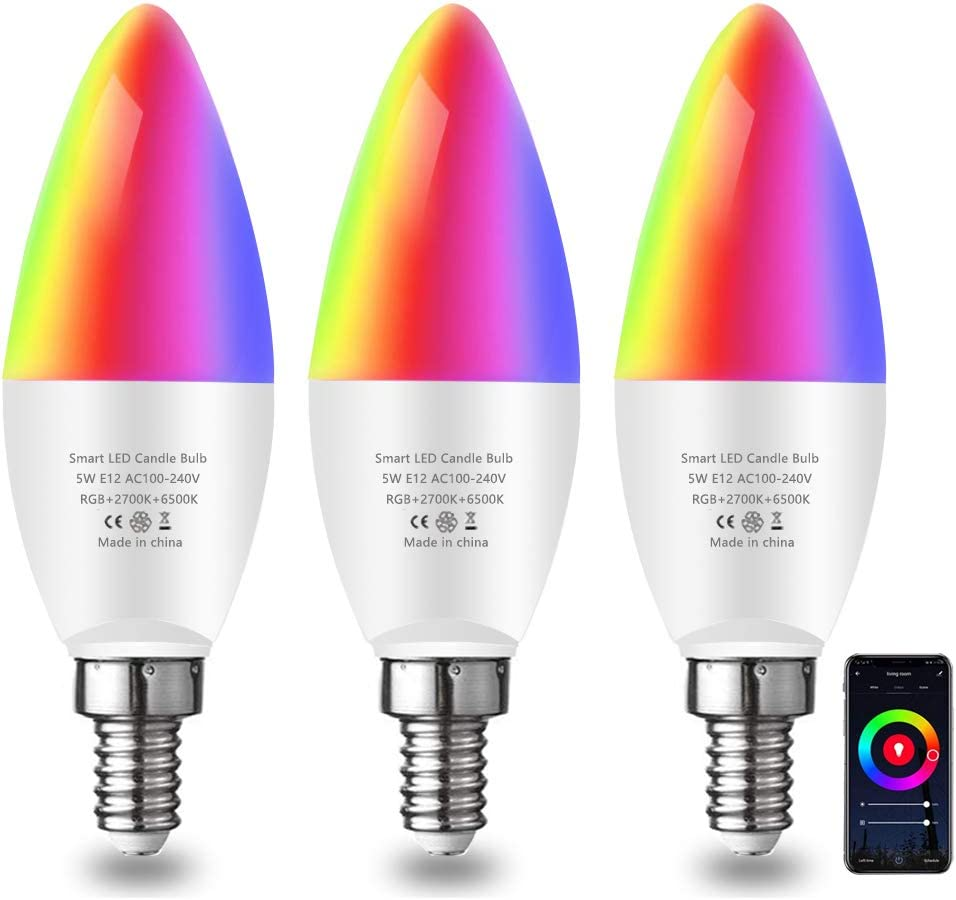2700K to 6500K 3 Pack WiFi Control Light,Multicolored LED Alexa Google Home Smart Light Bulb,E12 Candelabra LED Bulb ,Decorative,Smart Chandelier Lighting Dimmable RGB+ Warm White +White