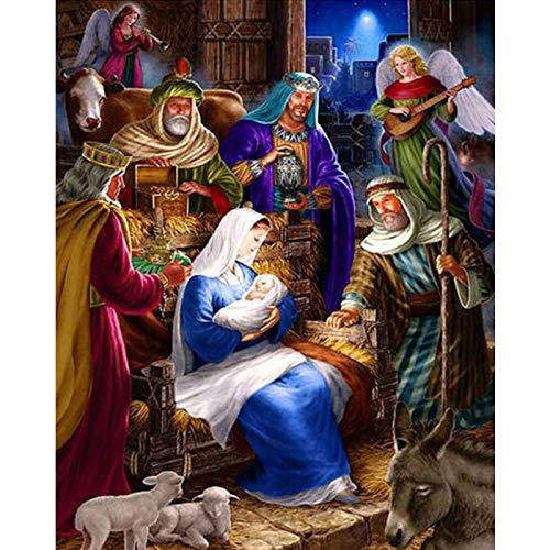 Zimal 5D Round Drill Jesus Christ Birth Home Decoration DIY Diamond Painting Needlework Full Diamond Embroidery Painting 11.8 x 15.8 Inch