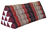 Thai triangular cushion XXL, burgundy/red, relaxation, beach, kapok, made in Thailand. (82315)