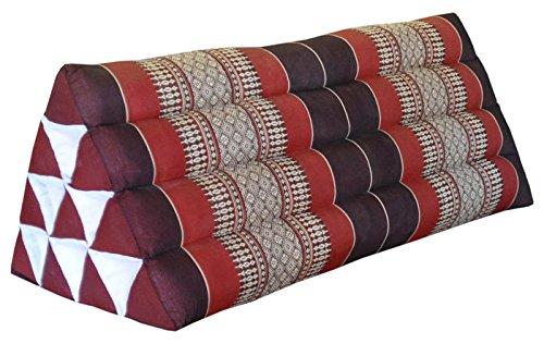 Thai triangular cushion XXL, burgundy/red, relaxation, beach, kapok, made in Thailand. (82315) by Wilai GmbH